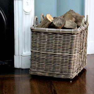 Large Rectangular Log Basket With Wheels - Grey