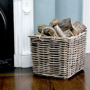 Large Rectangular Wicker Log Basket - Grey