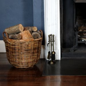Large Round Tub Log Basket - Brown