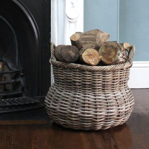 Large Round Wicker Log Basket