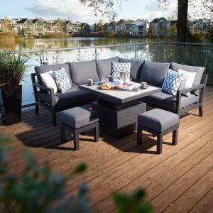 Bramblecrest La Rochelle 6 Seater Mini Modular Dining Set with Adjustable Table
