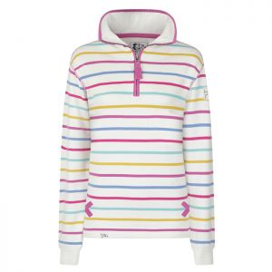 Lazy Jacks Ladies' 1/4 Zip Sweatshirt - Multi Stripe