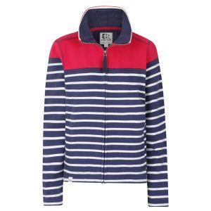 Lazy Jacks Ladies' Full Zip Sweatshirt - Cerise Stripe
