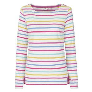Lazy Jacks Ladies' Long Sleeve Breton T-Shirt - Periwinkle Multi Stripe