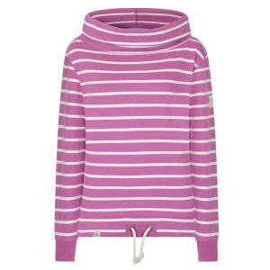 Lazy Jacks Ladies' Roll Neck Sweatshirt - Raspberry Stripe