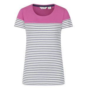 Lazy Jacks Ladies' Short Sleeve Panel Breton T-Shirt - Raspberry