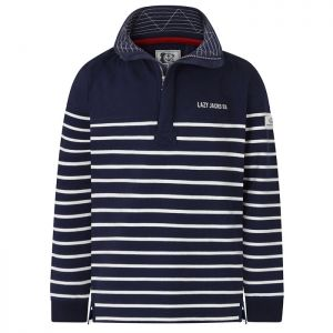 Lazy Jacks Men's 1/4 Zip Sweatshirt - Marine Navy Stripe