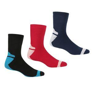 Regatta Women's Outdoor Lifestyle Socks, Pack of 3 – Black/Pink/Denim