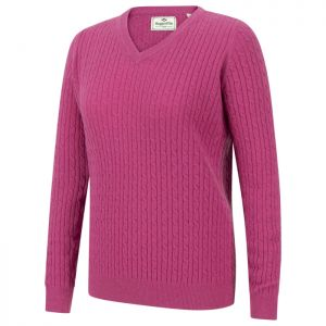 Hoggs of Fife Women's Lauder Cable Pullover - Cerise