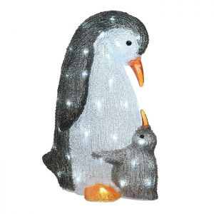 Jingles Mother and Baby Penguin LED Light Figures - White