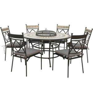 LG Outdoor Casablanca 6 Seat Ceramic Firepit Dining Set