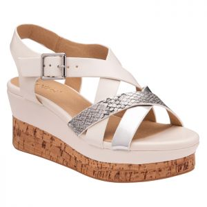 Lotus Women's Belinda Open Toe Wedge Sandals - White