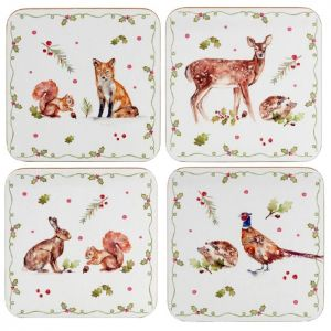 Lesser & Pavey Winter Forest Coasters – Set of 4