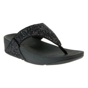 FitFlop Women's Lulu Glitter Toe-Post Sandals – Black