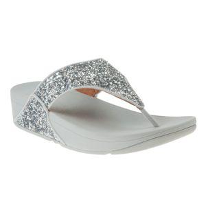 FitFlop Women's Lulu Glitter Toe-Post Sandals – Silver