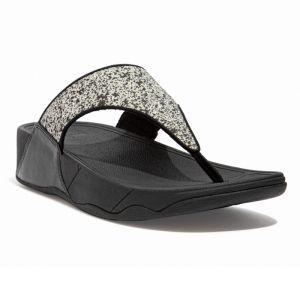 FitFlop Women's Lulu Shimmer Toe-Post Wide Sandals – Black