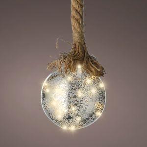 Lumineo Glass Ball Rope Light, 20cm – Silver / Warm White