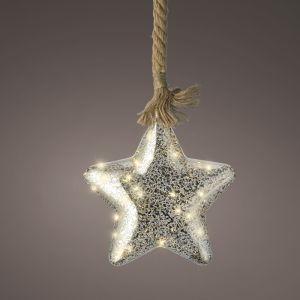 Lumineo Glass Star Rope Light, 20cm – Silver / Warm White