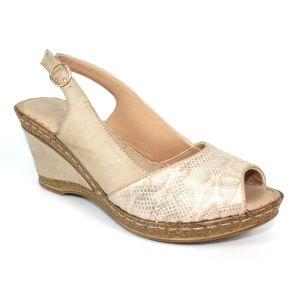 Lunar Women's Barnes Sling Back Wedge Sandals - Beige