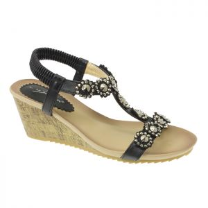 Lunar Women's Cally Wedge Sandal - Black