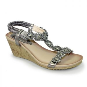 Lunar Women's Cally Wedge Sandals - Pewter