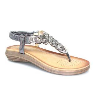 Lunar Women's Edwina Gemstone Sandal - Pewter