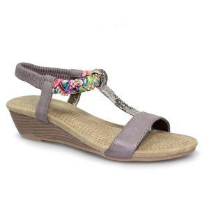 Lunar Women's Fern Diamante Wedge Sandal - Grey