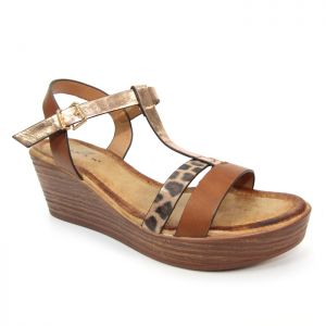 Lunar Women's Kempton Leopard Wedge Sandal - Brown