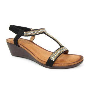 Lunar Women's Tabitha Wedged 'T' Bar Sandal - Black