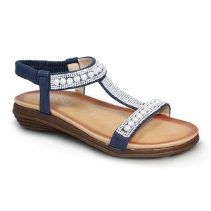 Lunar Women's Tancy 'T' Bar Pearl Sandals - Blue