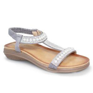Lunar Women's Tancy 'T' Bar Pearl Sandals - Grey
