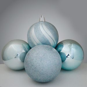 Luxury Baubles, 4 Pack - Ice Blue