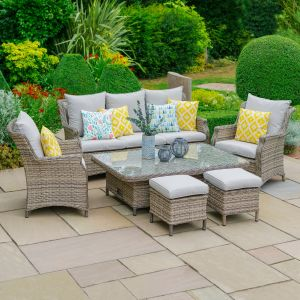 LG Outdoor Lyon 7 Seater Lounge Set with Adjustable Table