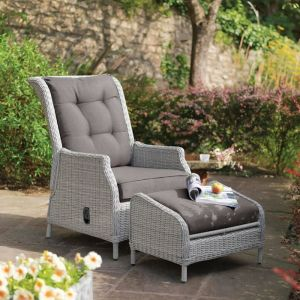 Kettler Palma Classic Recliner and Footstool – Whitewash/Grey Taupe