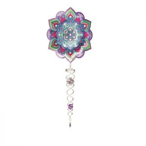 Spin Art Mandala Lotus Wind Spinner with Crystal Tail