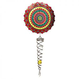 Spin Art Mandala Mexico Wind Spinner with Crystal Tail