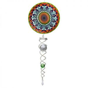 Spin Art Mandala Rainbow Wind Spinner with Crystal Tail