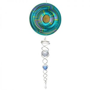 Spin Art Mandala Swirl Wind Spinner with Crystal Tail