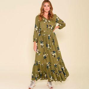 Brakeburn Women's Primrose Maxi Shirt Dress - Olive Green