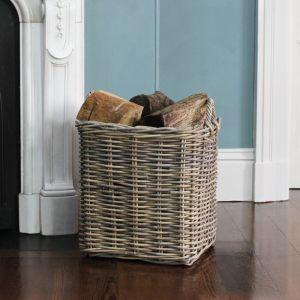 Medium Square Wicker Log Basket - Grey