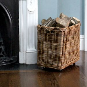 Medium Rectangular Log Basket With Wheels - Brown