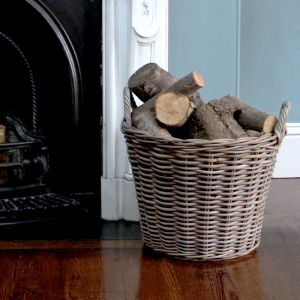 Medium Tapered Round Log Basket - Grey