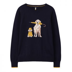 Joules Women's Miranda Knitted Crew Neck Jumper – Navy Dog