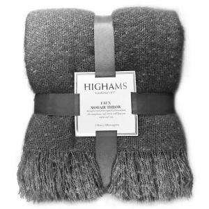 Highams Faux Mohair Throw - Charcoal