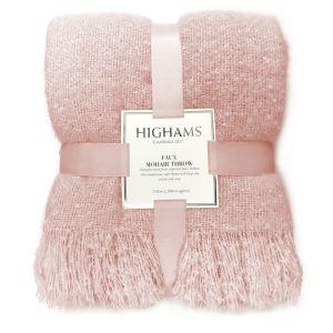 Highams Faux Mohair Throw - Blush