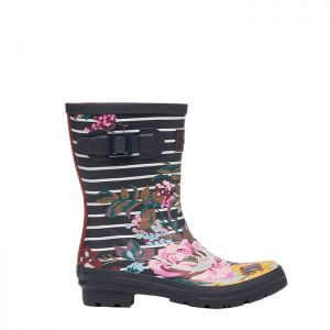 Joules Women's Mid Height Molly Wellies- Navy Floral Stripes