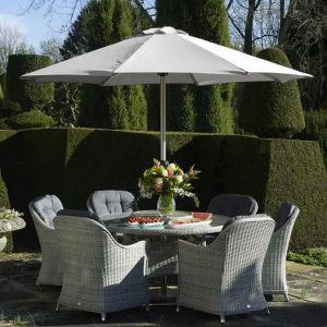 Bramblecrest Monterey Round Dining Set with Lazy Susan & Parasol - 6 Seater
