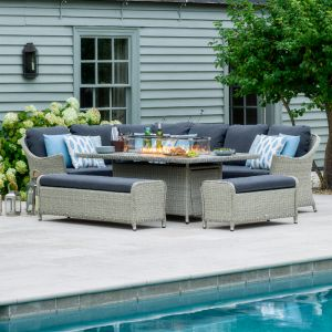 Bramblecrest Monterey 10 Seater Modular Dining Set with Fire Pit