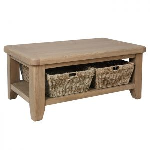 Montgomery Oak Coffee Table with Baskets