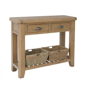 Montgomery Oak Console Table with Baskets